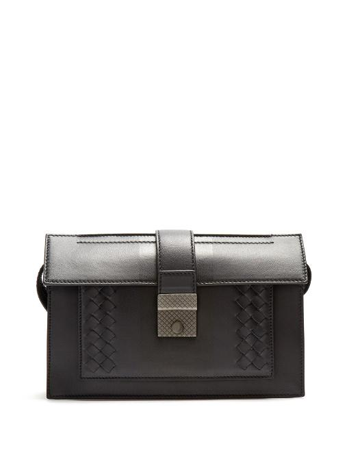 Bottega Veneta Intrecciato-trimmed Leather Pouch In Dark Navy