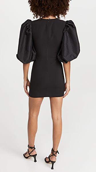 Likely Clover Balloon Sleeve Minidress In Black