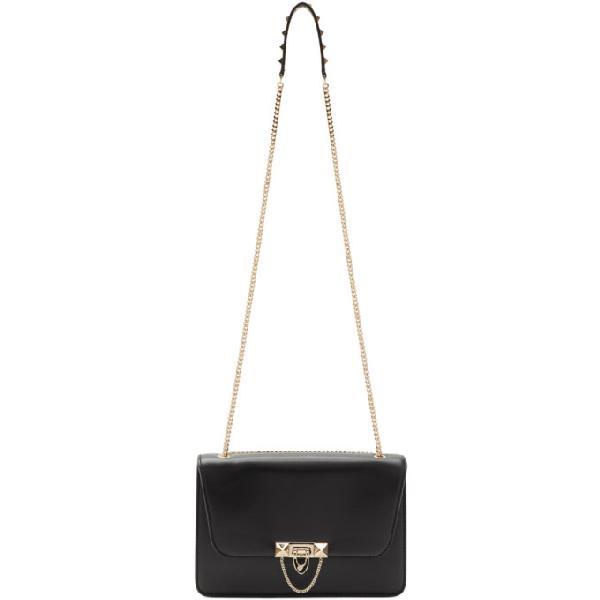 Valentino Demilune Leather Shoulder Bag In Black