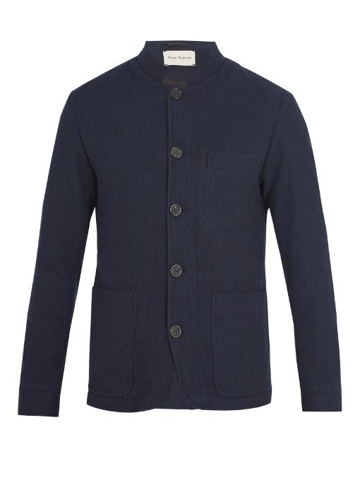 Oliver Spencer Coram Stand-collar Wool Jacket In Navy