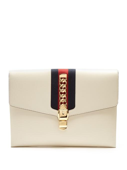 Gucci - Sylvie Leather Shoulder Clutch - Womens - White