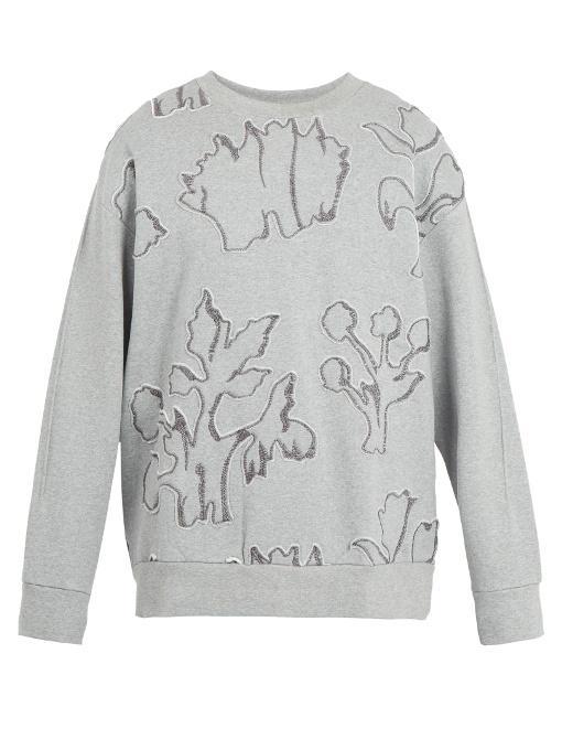 Wooyoungmi Floral-appliquÉ Cotton-jersey Sweatshirt In Grey
