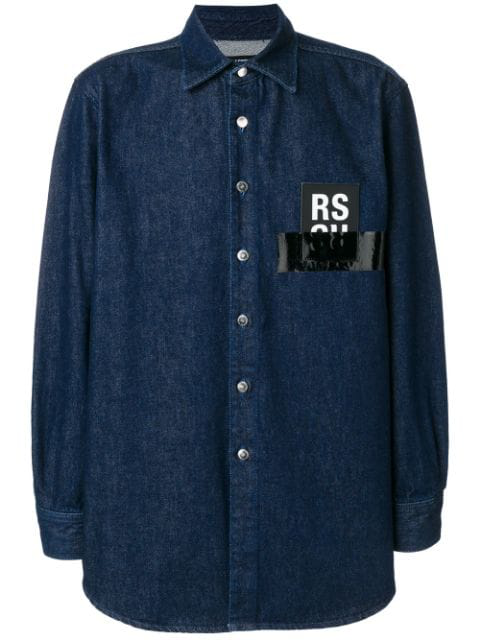 Raf Simons Oversized Logo Patch Denim Shirt In Blue