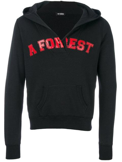 Raf Simons A Forest-print Hooded Cotton Sweatshirt In Black