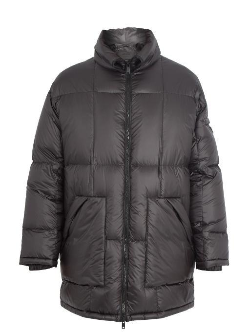 Prada Zip-through Quilted Down Coat In Black