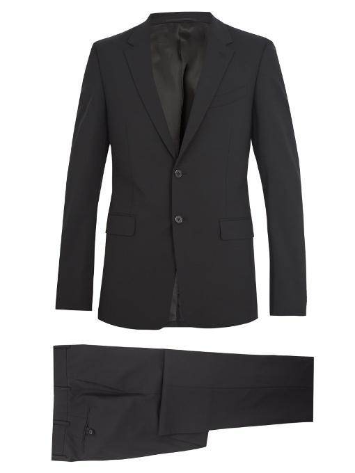 Prada Slim-fit Wool-blend Suit In Black
