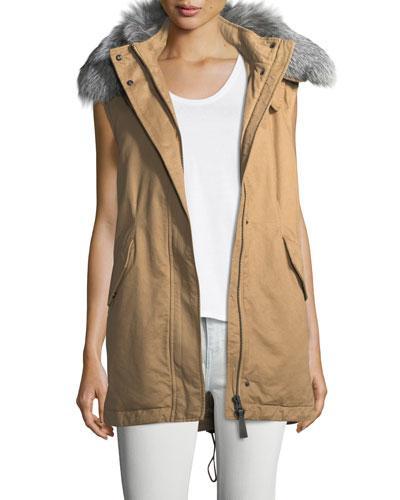 Derek Lam 10 Crosby Cotton Zip-front Utility Vest W/ Fur Trim In Khaki