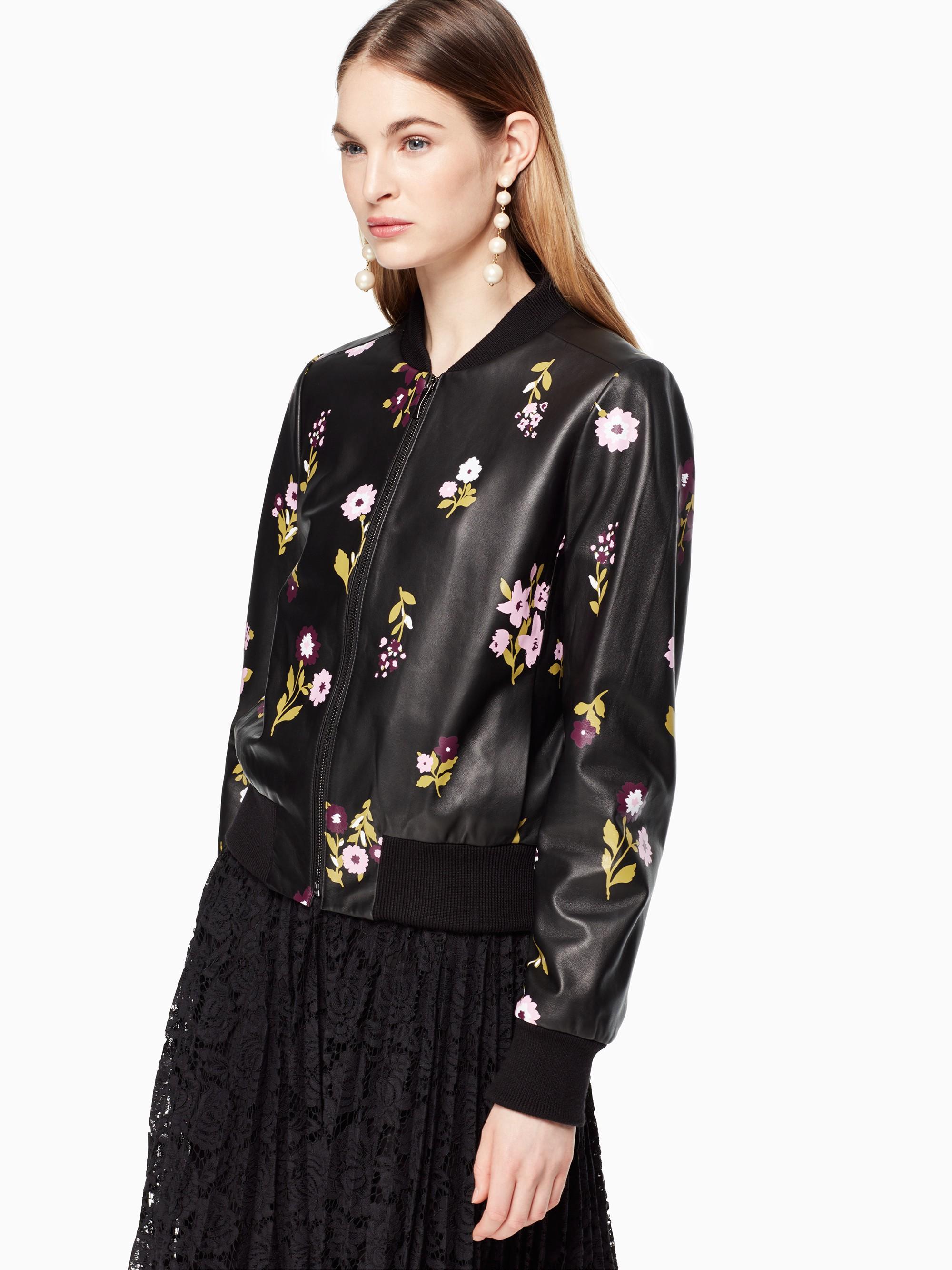 Kate Spade In Bloom Leather Bomber Jacket In Black