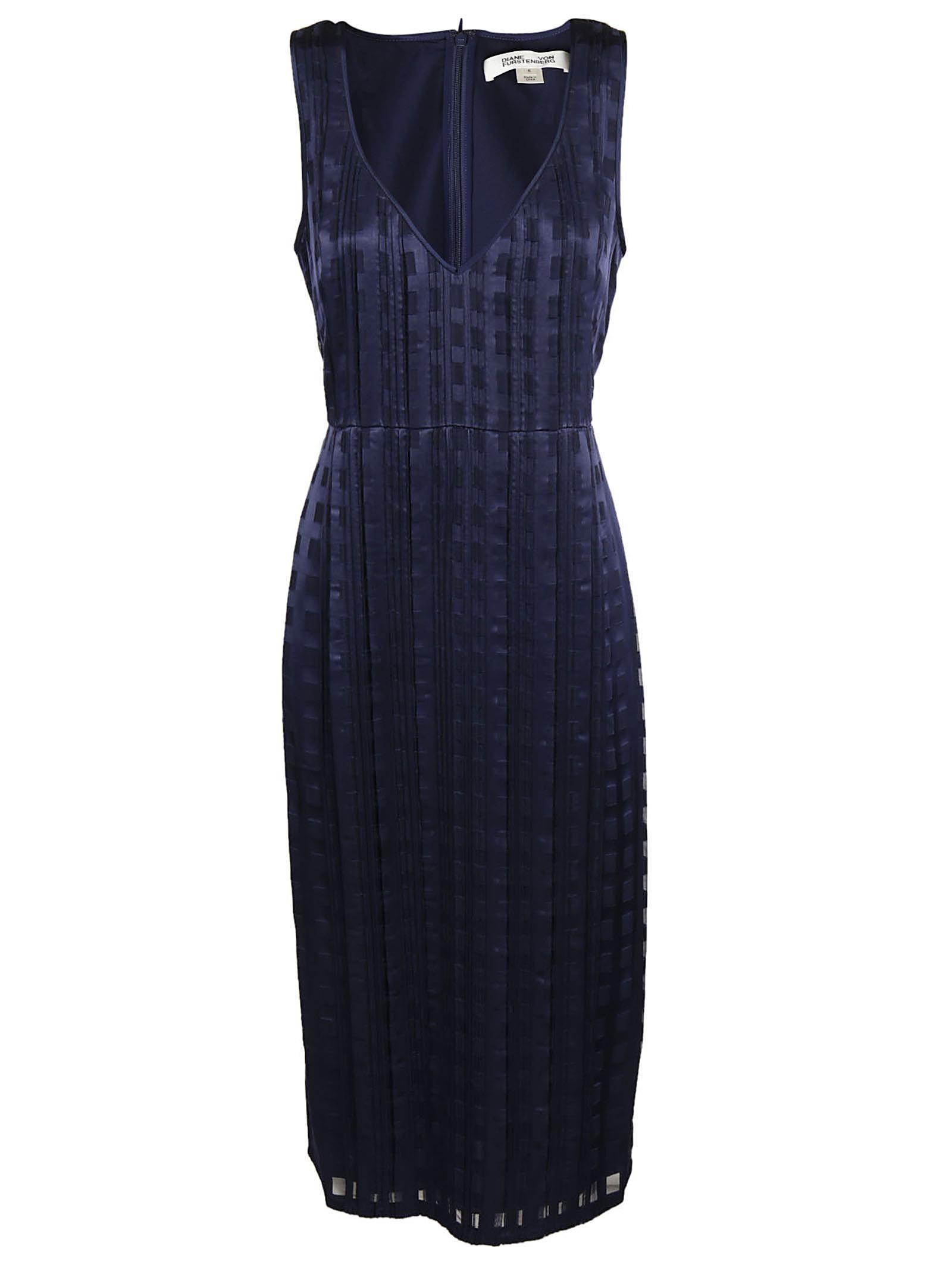 Diane Von Furstenberg V-neck Dress In Navy