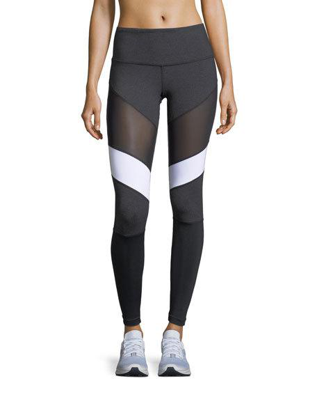 Vimmia Adiago Mid-rise Mesh Paneled Performance Leggings, Gray/black