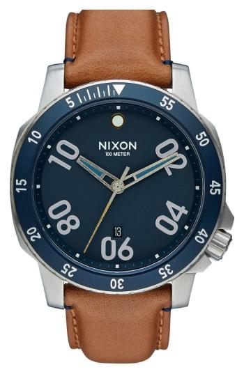 Nixon 'the Ranger' Leather Strap Watch, 44mm In Saddle/ Navy/ Silver
