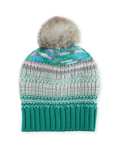 Missoni Striped Beanie Hat W/ Fur Pompom In Blue Pattern