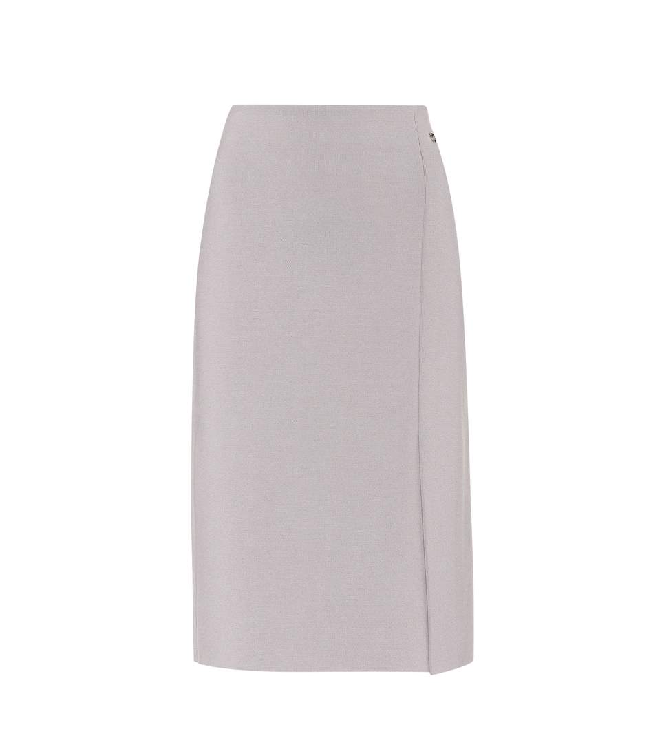 Salvatore Ferragamo Stretch-wool Skirt In Grey