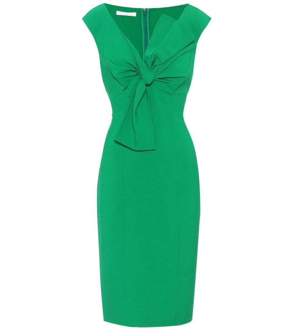 Oscar De La Renta Stretch-wool Dress In Green