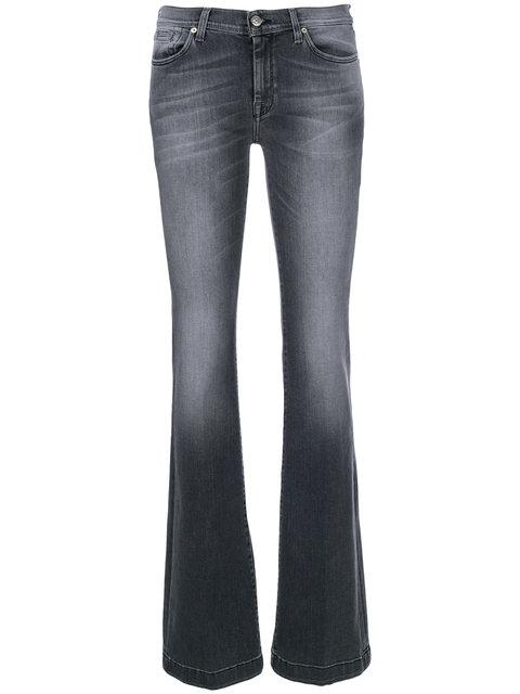 7 For All Mankind Stonewashed Bootcut Jeans In Grey