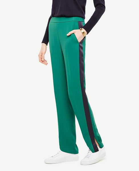 Ann Taylor Petite Tux-stripe Track Pants In Forest Leaves