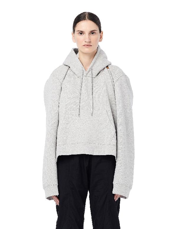 Vetements Misplaced Hoodie With Pocket In Grey