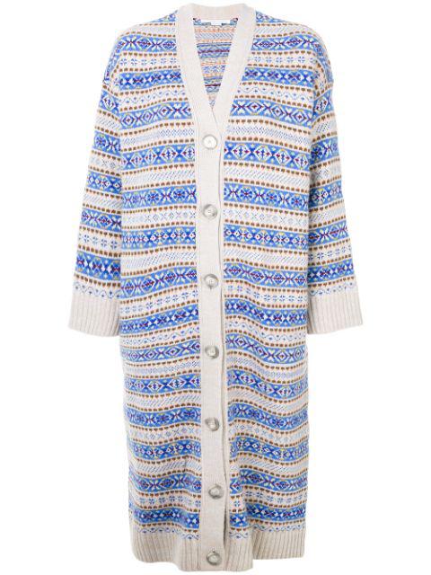 Stella Mccartney Beige & Blue Striped Long V-neck Cardigan In Neutrals