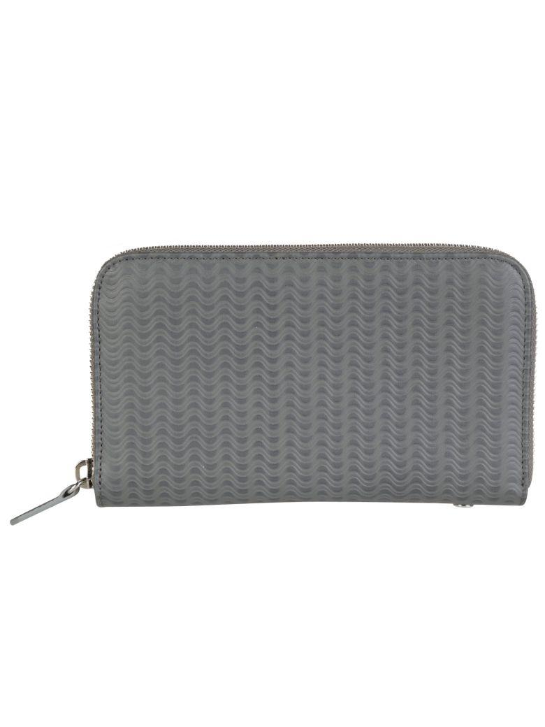 Zanellato Wavy Embossed Leather Zip Around Wallet In Grey