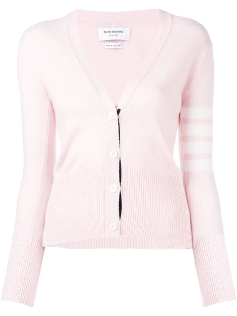 Thom Browne Classic V-neck Cashmere Cardigan - Pink