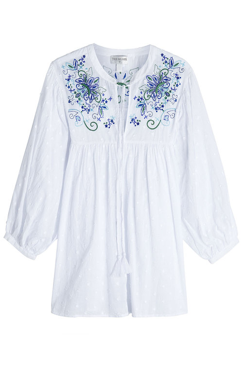 True Religion Embroidered Cotton Blouse In White