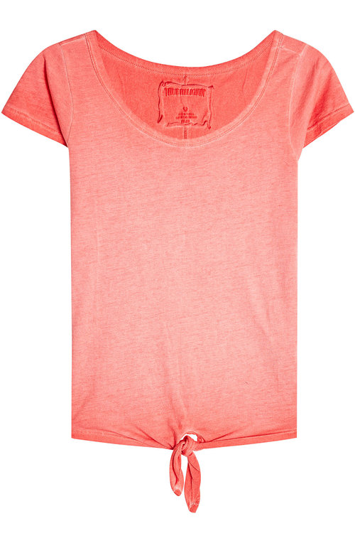 True Religion Tie-front T-shirt With Cotton In Red