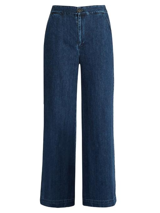 Sea Lace-up Back Wide-leg Jeans In Indigo