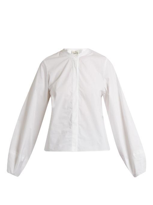 Sea Lantern-sleeved Cotton Shirt In White
