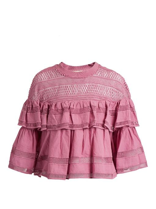 Sea Ruffled MacramÉ-lace Cotton Top In Pink