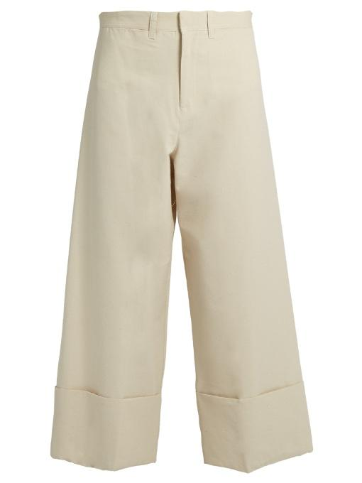 Sea Wide-leg Silk And Cotton-blend Cropped Trousers In Ivory