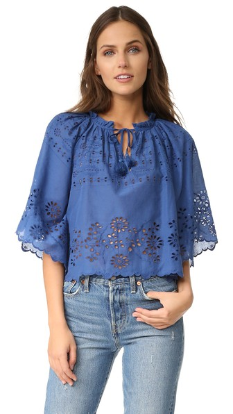 Sea Poet-sleeve Broderie-anglaise Cotton Top In Blue
