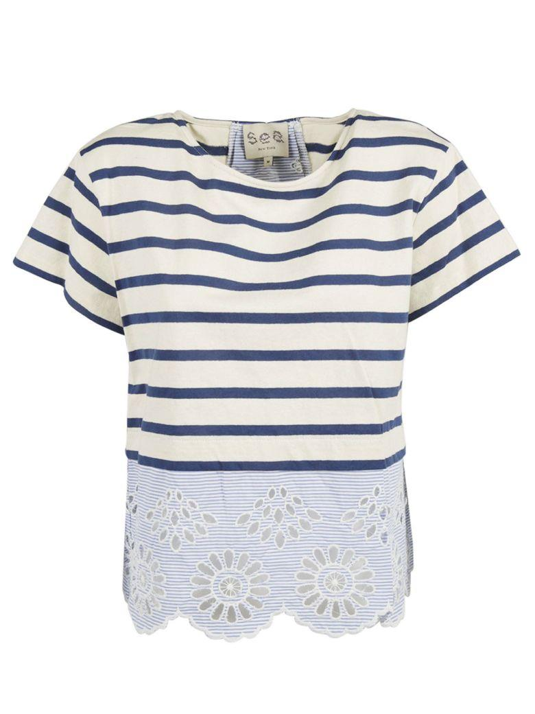 Sea Striped T-shirt In Blue-ivory