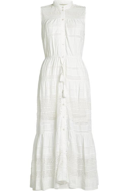 Sea Lace Button Down Dress In White