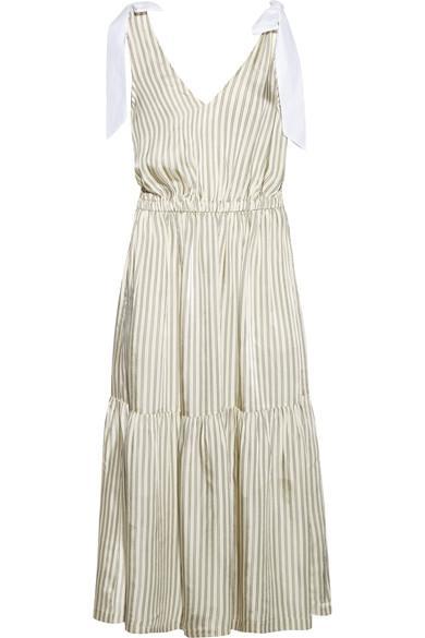 Sea Poplin-trimmed Striped Voile Midi Dress In Cream