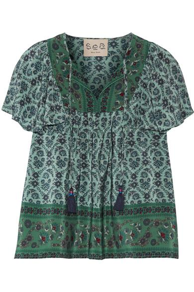 Sea Ruffled Printed Silk Blouse In Forest Green