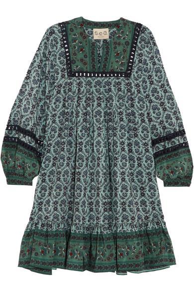 Sea Allura Printed Guipure Lace-trimmed Silk Crepe De Chine Mini Dress In Forest Green