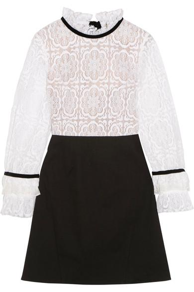 Sea Velvet-trimmed Lace And Crepe Mini Dress In Black