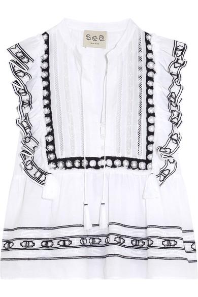 Sea Ruffled Crochet-trimmed Cotton-voile Blouse In White