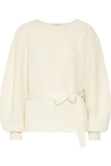 Sea Cable-knit Sweater In Ivory
