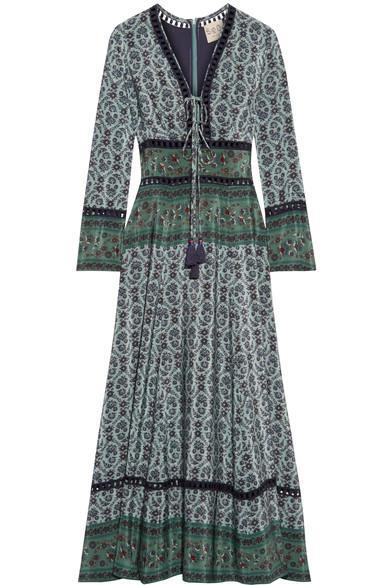 Sea Crochet-trimmed Printed Silk Maxi Dress In Emerald