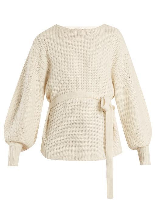 Sea Classic Tie-waist Purl-knit Sweater In Cream
