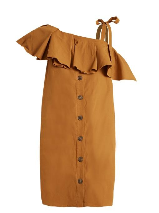 Sea Ruffle-trimmed One-shoulder Gabardine Dress In Camel