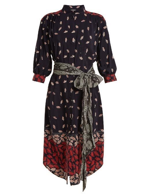 Sea Obi Leaf-print Tie-waist Silk Dress In Navy Multi