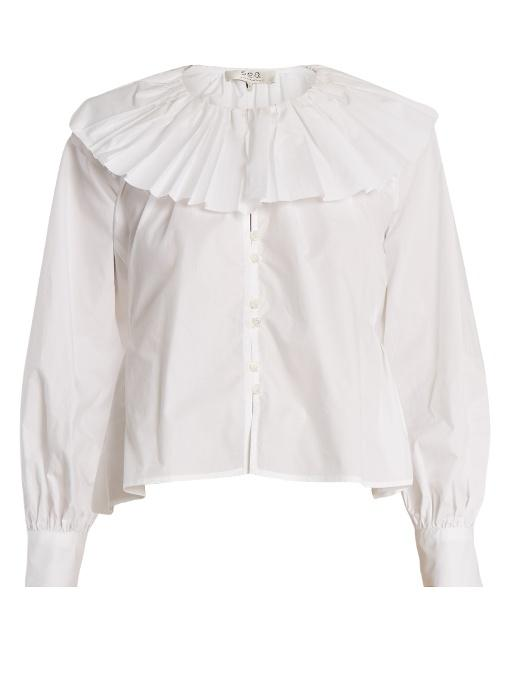 Sea Pleated-collar Cotton Blouse In White
