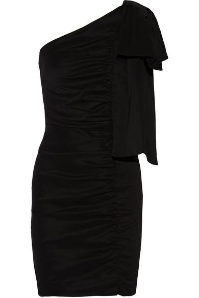 Sea One-shoulder Ruched Stretch-poplin Mini Dress In Black