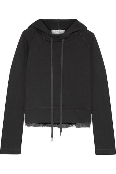 Sea Cotton-jersey And Fil CoupÉ Chiffon Hooded Top In Black