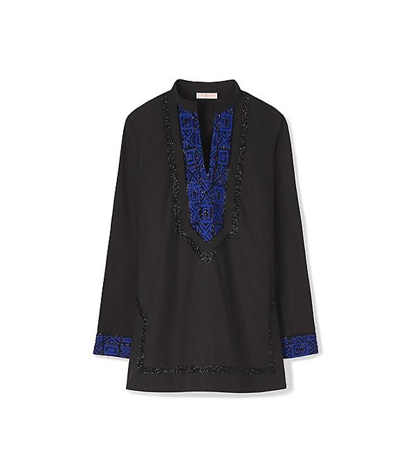 Tory Burch Tory Embellished Cotton Tunic In Black