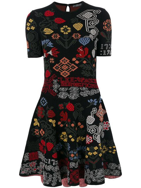 Alexander Mcqueen Needlepoint Fit & Flare Dress In Black