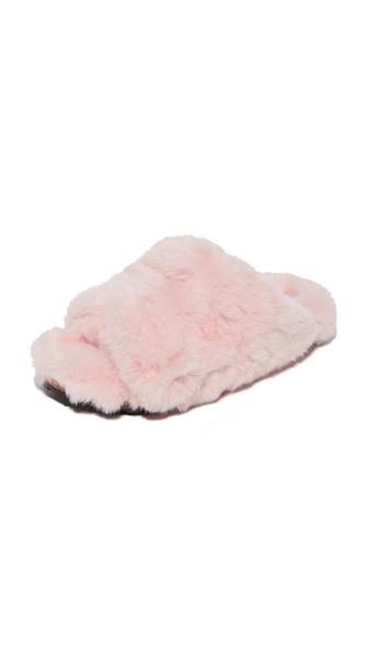 Suecomma Bonnie Faux Fur Detailed Flat Slides In Pink
