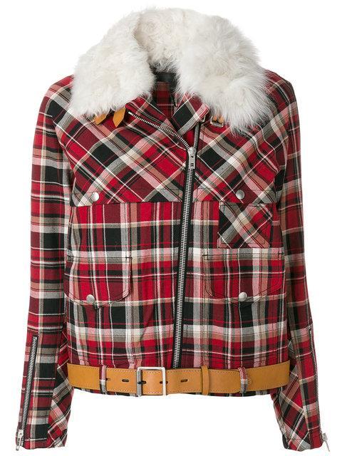Rag & Bone Etiene Plaid Jacket With Genuine Lamb Fur Collar In Red Multi